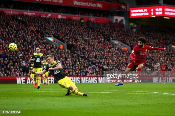 Mohamed Salah of Liverpool has a shot at goal during the Premier League match between Liverpool FC and Southampton FC at Anfield on February 1, 2020...