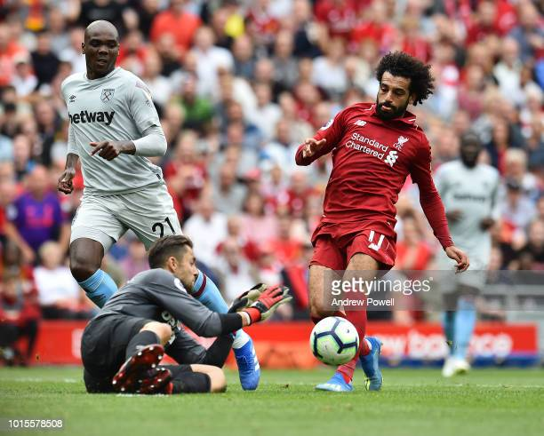 Mohamed Salah of Liverpool has his shot saved during the Premier League match between Liverpool FC and West Ham United at Anfield on August 12 2018...