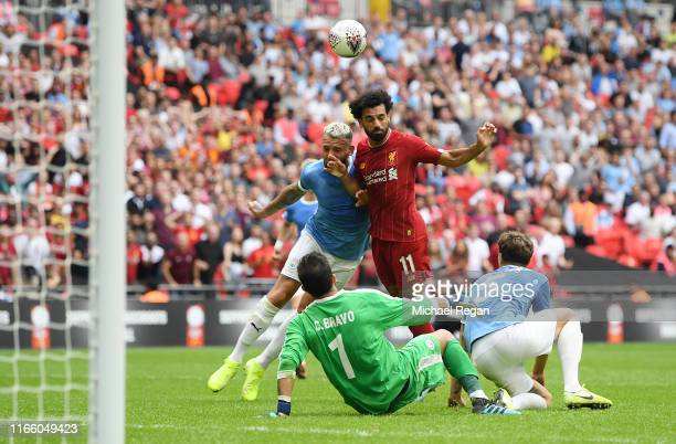 Mohamed Salah of Liverpool heads towards goal during the FA Community Shield match between Liverpool and Manchester City at Wembley Stadium on August...