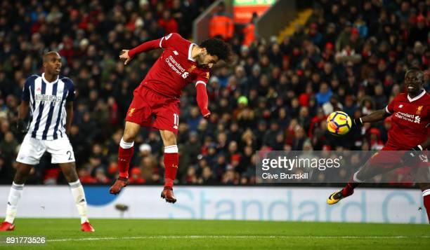 Mohamed Salah of Liverpool heads towards goal during the Premier League match between Liverpool and West Bromwich Albion at Anfield on December 13...