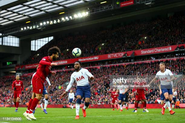 Mohamed Salah of Liverpool heads towards goal which results in Toby Alderweireld of Tottenham Hotspur scoring an own goal to make it 21 during the...