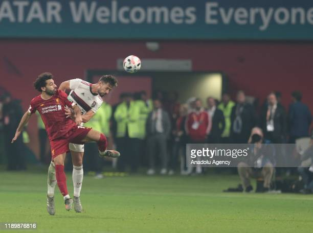 Mohamed Salah of Liverpool in action against Pablo Mari of CR Flamengo during the FIFA Club World Cup Qatar 2019 Final match between Liverpool FC and...