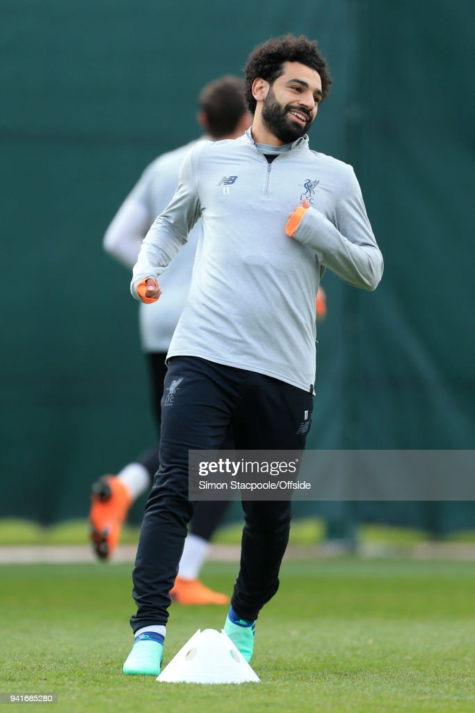 Mohamed Salah of Liverpool in action during a training session prior to their UEFA Champions League Quarter Final First Leg match against Manchester City at their Melwood Training Ground on April 3, 2018 in Liverpool, England.