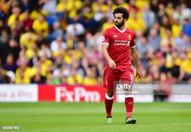 Mohamed Salah of Liverpool in action during the during the Premier League match between Watford and Liverpool at Vicarage Road on August 12 2017 in...