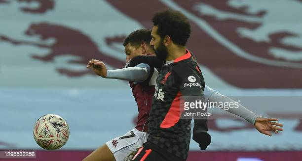 Mohamed Salah of Liverpool in action during the FA Cup Third Round match between Aston Villa and Liverpool on January 08, 2021 in Birmingham,...
