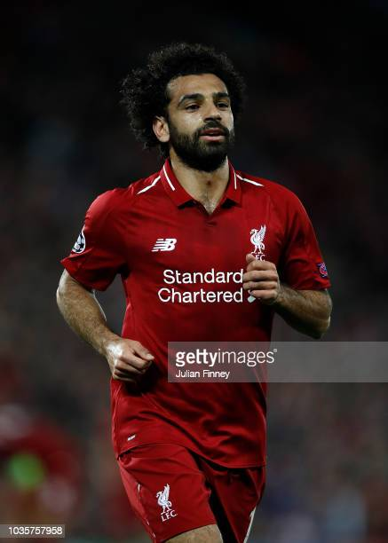Mohamed Salah of Liverpool in action during the Group C match of the UEFA Champions League between Liverpool and Paris SaintGermain at Anfield on...