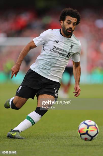 Mohamed Salah of Liverpool in action during the Pre Season Friendly match between Liverpool and Athletic Club at Aviva Stadium on August 5 2017 in...