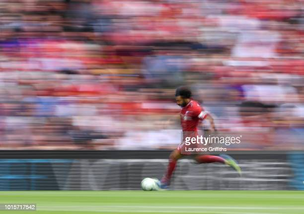 Mohamed Salah of Liverpool in action during the Premier League match between Liverpool FC and West Ham United at Anfield on August 12 2018 in...