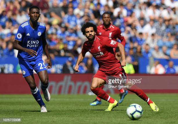 Mohamed Salah of Liverpool in action during the Premier League match between Leicester City and Liverpool FC at The King Power Stadium on September 1...