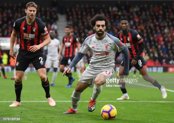Mohamed Salah of Liverpool in action during the Premier League match between AFC Bournemouth and Liverpool FC at Vitality Stadium on December 08 2018...