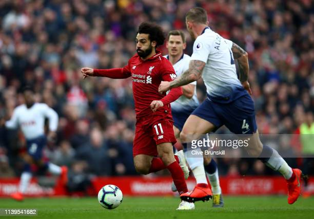 Mohamed Salah of Liverpool in action during the Premier League match between Liverpool FC and Tottenham Hotspur at Anfield on March 31 2019 in...