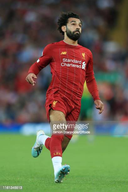 Mohamed Salah of Liverpool in action during the Premier League match between Liverpool and Norwich City at Anfield on August 9 2019 in Liverpool...