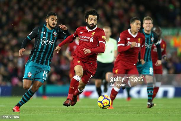 Mohamed Salah of Liverpool in action during the Premier League match between Liverpool and Southampton at Anfield on November 18 2017 in Liverpool...