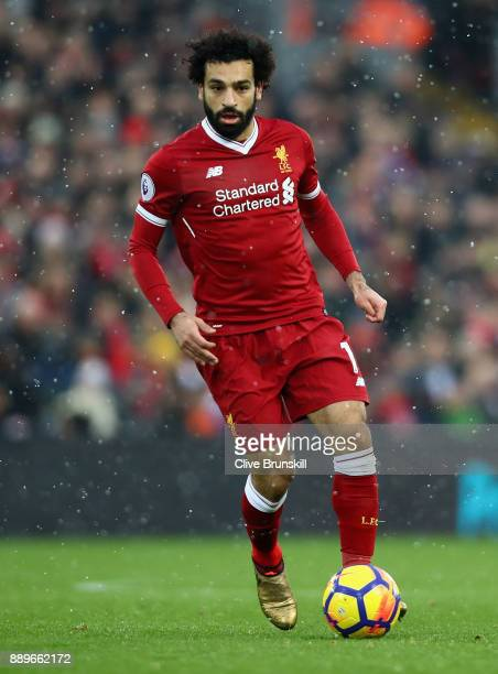 Mohamed Salah of Liverpool in action during the Premier League match between Liverpool and Everton at Anfield on December 10 2017 in Liverpool England