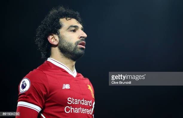 Mohamed Salah of Liverpool in action during the Premier League match between Liverpool and West Bromwich Albion at Anfield on December 13 2017 in...