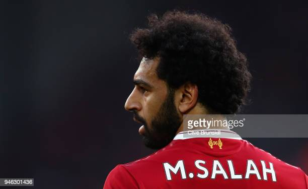 Mohamed Salah of Liverpool in action during the Premier League match between Liverpool and AFC Bournemouth at Anfield on April 14 2018 in Liverpool...
