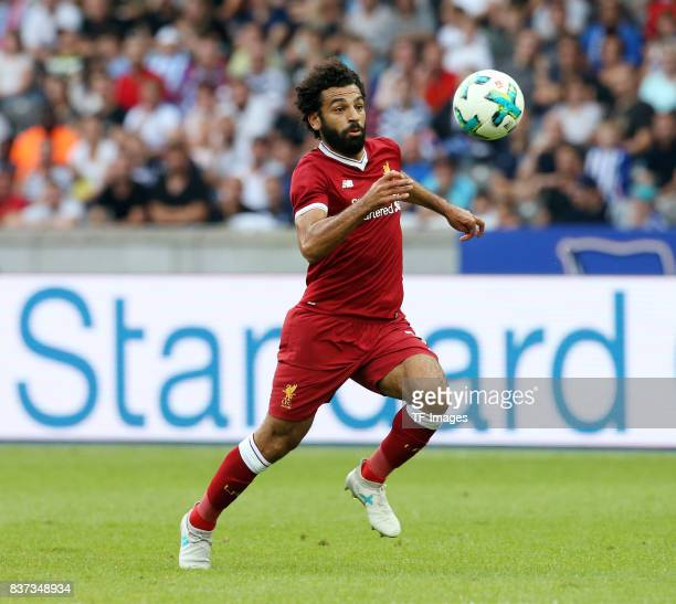 Mohamed Salah of Liverpool in action during the Preseason Friendly match between Hertha BSC and FC Liverpool at Olympiastadion on July 29 2017 in...