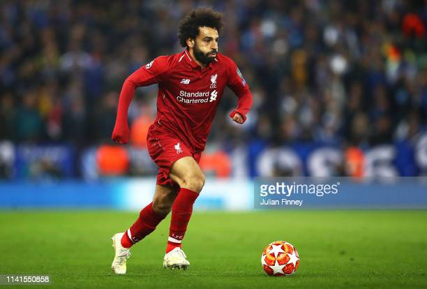 Mohamed Salah of Liverpool in action during the UEFA Champions League Quarter Final first leg match between Liverpool and Porto at Anfield on April...