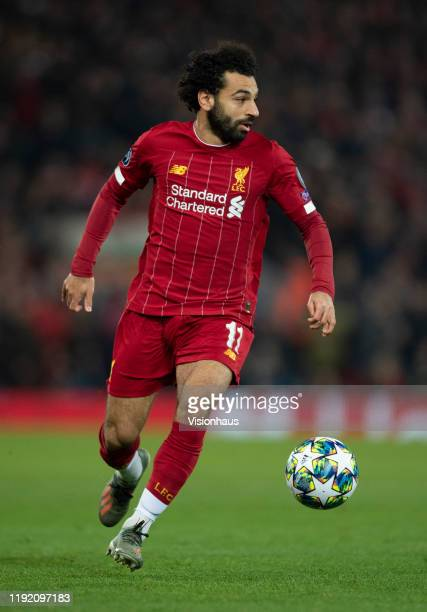 Mohamed Salah of Liverpool in action during the UEFA Champions League group E match between Liverpool FC and SSC Napoli at Anfield on November 27...