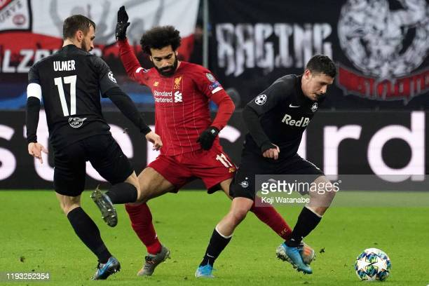 Mohamed Salah of Liverpool in action during the UEFA Champions League group E match between RB Salzburg and Liverpool FC at Red Bull Arena on...