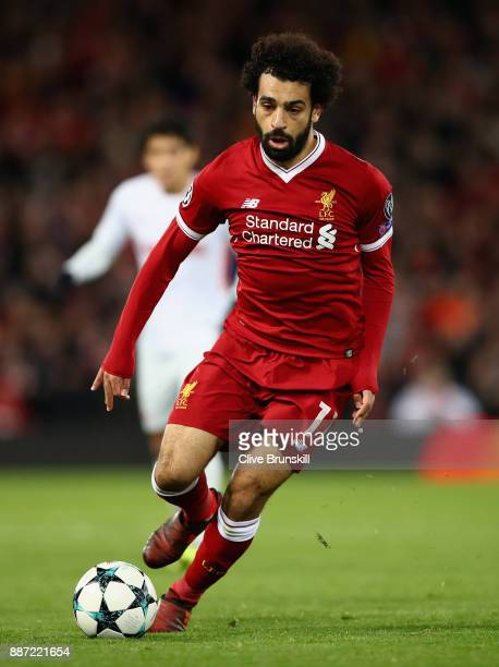 Mohamed Salah of Liverpool in action during the UEFA Champions League group E match between Liverpool FC and Spartak Moskva at Anfield on December 6...