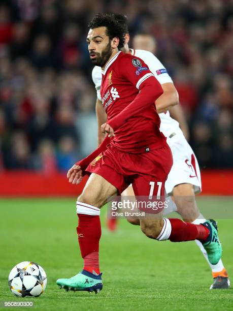 Mohamed Salah of Liverpool in action during the UEFA Champions League Semi Final First Leg match between Liverpool and AS Roma at Anfield on April 24...