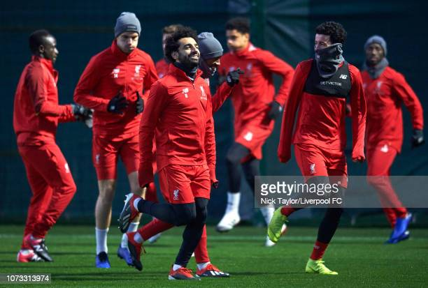 Mohamed Salah of Liverpool is all smiles during a training session at Melwood Training Ground on December 14 2018 in Liverpool England