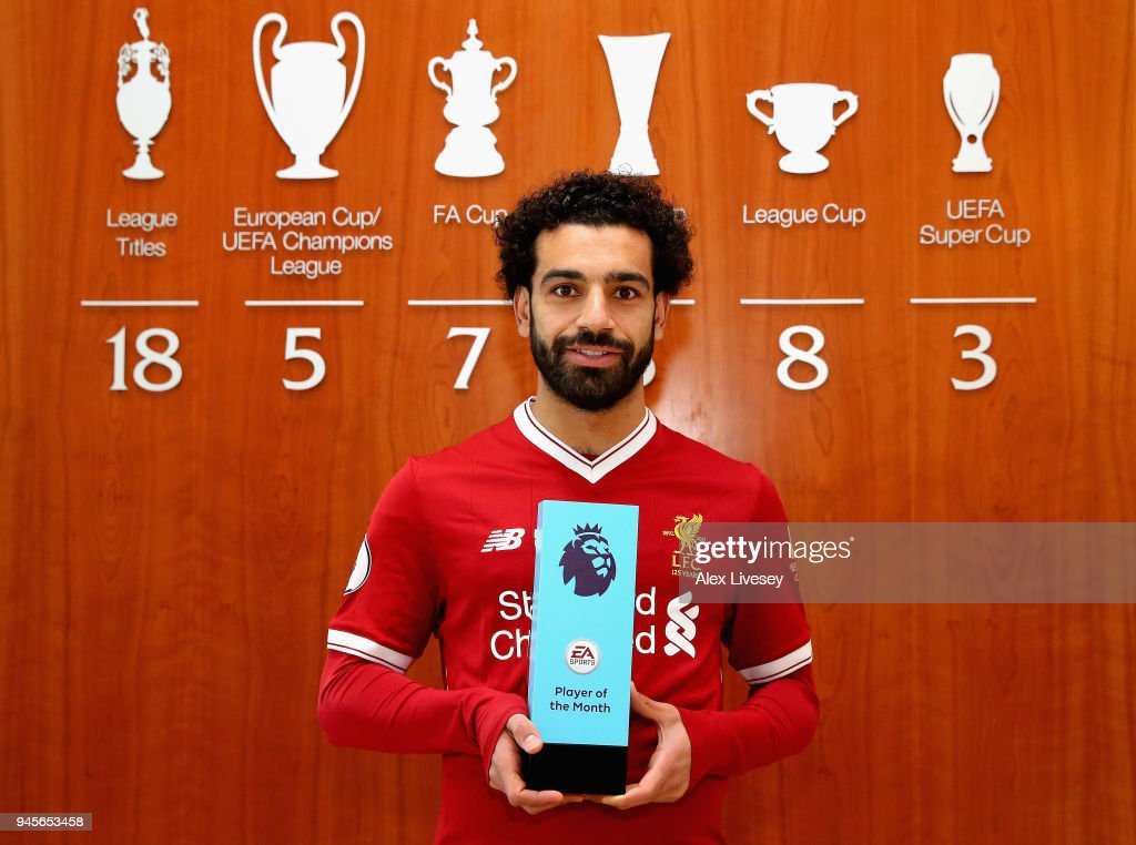 Mohamed Salah of Liverpool is Awarded with the EA SPORTS Player of the Month for March at Melwood Training Ground on April 12, 2018 in Liverpool, England.