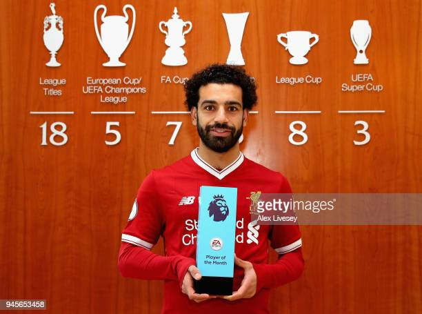 Mohamed Salah of Liverpool is Awarded with the EA SPORTS Player of the Month for March at Melwood Training Ground on April 12 2018 in Liverpool...