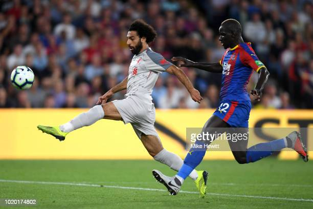 Mohamed Salah of Liverpool is closed down by Mamadou Sakho of Crystal Palace during the Premier League match between Crystal Palace and Liverpool FC...