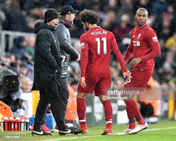 Mohamed Salah of Liverpool is substituted during the Premier League match between Fulham FC and Liverpool FC at Craven Cottage on March 17 2019 in...