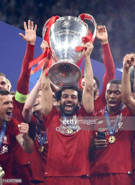 Mohamed Salah of Liverpool lifts the cup during the UEFA Champions League Final Tottenham Hotspur Fc v Liverpool Fc awards ceremony at the Wanda...