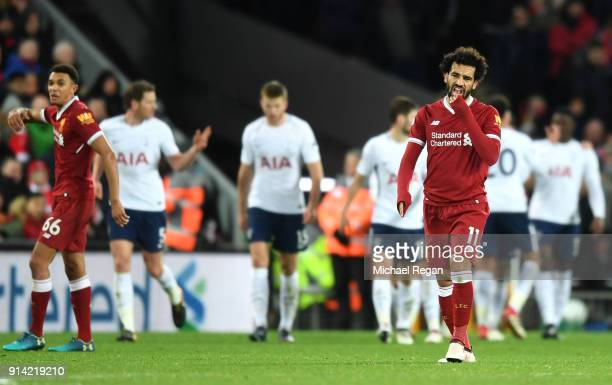 Mohamed Salah of Liverpool look dejected after Tottenham Hotspur first goal during the Premier League match between Liverpool and Tottenham Hotspur...