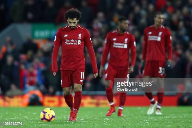 Mohamed Salah of Liverpool looks dejected after Leicester City's first goal during the Premier League match between Liverpool FC and Leicester City...
