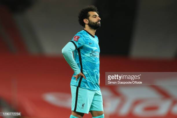 Mohamed Salah of Liverpool looks dejected during The Emirates FA Cup Fourth Round match between Manchester United and Liverpool at Old Trafford on...