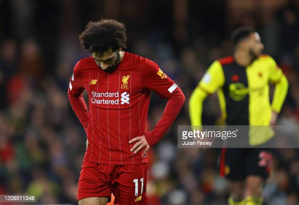Mohamed Salah of Liverpool looks dejected during the Premier League match between Watford FC and Liverpool FC at Vicarage Road on February 29 2020 in...