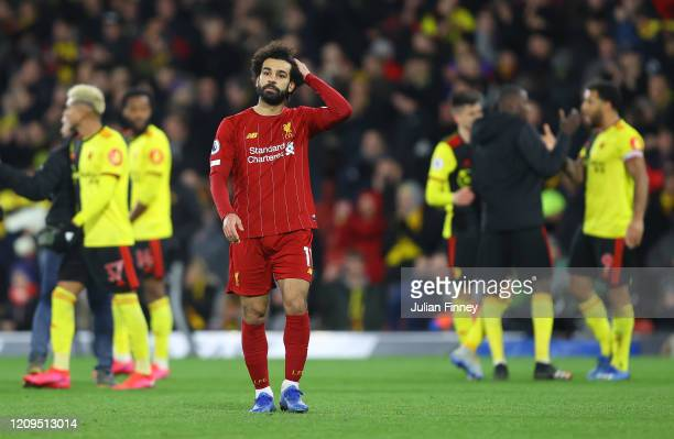 Mohamed Salah of Liverpool looks dejected following the Premier League match between Watford FC and Liverpool FC at Vicarage Road on February 29 2020...