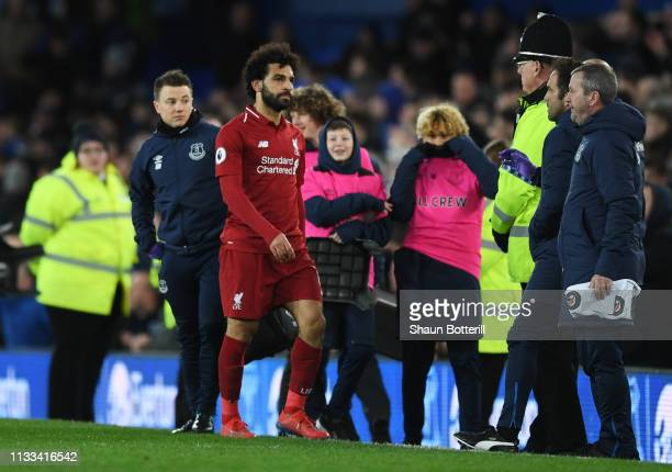 Mohamed Salah of Liverpool looks despondent after the Premier League match between Everton FC and Liverpool FC at Goodison Park on March 03 2019 in...