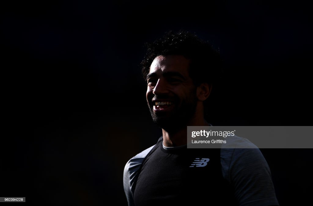Mohamed Salah of Liverpool looks on during a Liverpool training session ahead of the UEFA Champions League Final against Real Madrid at NSC Olimpiyskiy Stadium on May 25, 2018 in Kiev, Ukraine.