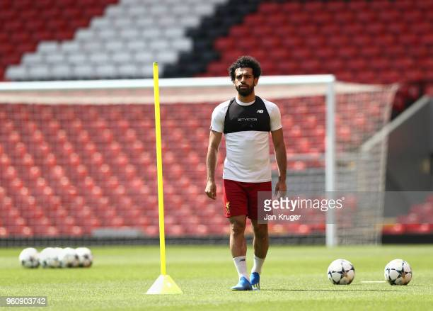 Mohamed Salah of Liverpool looks on during a training session at Anfield on May 21 2018 in Liverpool England