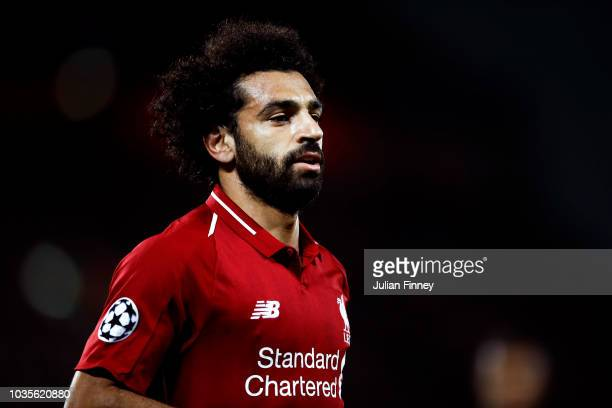 Mohamed Salah of Liverpool looks on during the Group C match of the UEFA Champions League between Liverpool and Paris SaintGermain at Anfield on...