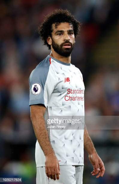 Mohamed Salah of Liverpool looks on during the Premier League match between Crystal Palace and Liverpool FC at Selhurst Park on August 20 2018 in...
