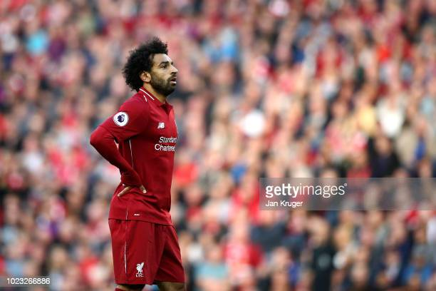Mohamed Salah of Liverpool looks on during the Premier League match between Liverpool FC and Brighton Hove Albion at Anfield on August 25 2018 in...