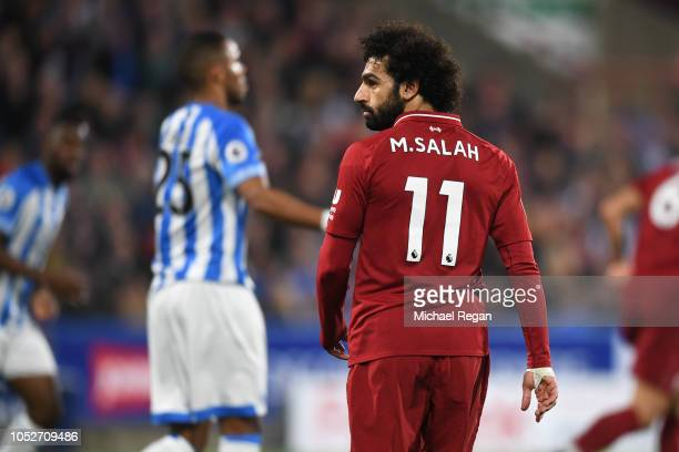 Mohamed Salah of Liverpool looks on during the Premier League match between Huddersfield Town and Liverpool FC at John Smith's Stadium on October 20...