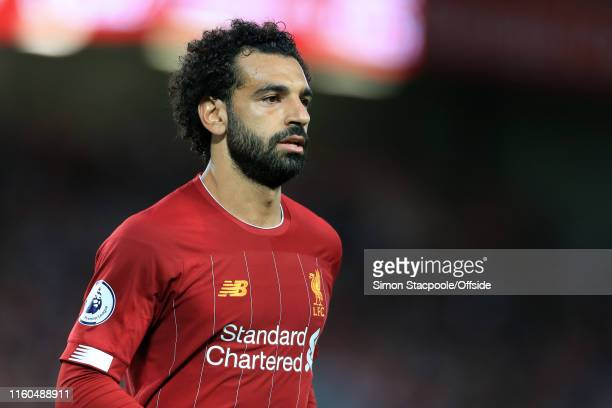 Mohamed Salah of Liverpool looks on during the Premier League match between Liverpool and Norwich City at Anfield on August 9 2019 in Liverpool...