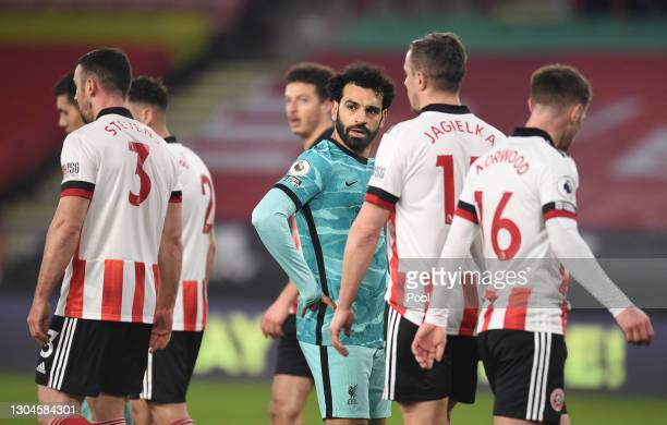 Mohamed Salah of Liverpool looks on during the Premier League match between Sheffield United and Liverpool at Bramall Lane on February 28, 2021 in...