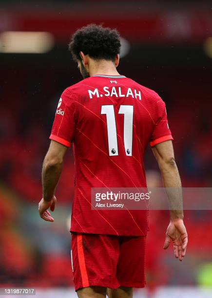 Mohamed Salah of Liverpool looks on during the Premier League match between Liverpool and Crystal Palace at Anfield on May 23, 2021 in Liverpool,...