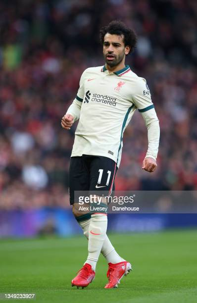 Mohamed Salah of Liverpool looks on during the Premier League match between Manchester United and Liverpool at Old Trafford on October 24, 2021 in...