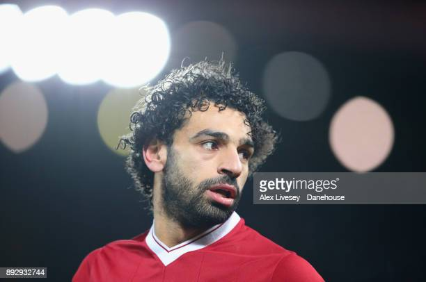 Mohamed Salah of Liverpool looks on during the Premier League match between Liverpool and West Bromwich Albion at Anfield on December 13 2017 in...