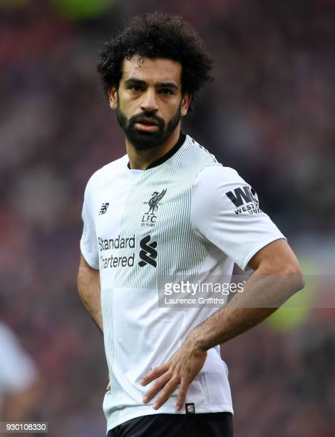 Mohamed Salah of Liverpool looks on during the Premier League match between Manchester United and Liverpool at Old Trafford on March 10 2018 in...